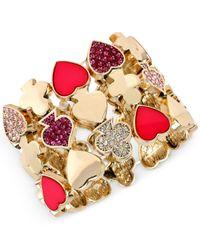 Betsey Johnson - Multicolor Gold-tone Pavé Card Suit Stretch Bracelet - Lyst