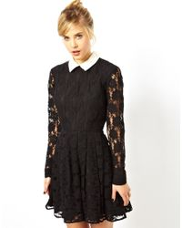 ASOS - Black Lace Skater Dress With Collar - Lyst