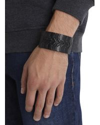 Alexander McQueen - Black Ribcage Embossed Leather Cuff for Men - Lyst