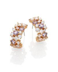 Adriana Orsini - Metallic Sweet Embrace Cluster J Hoop Earrings/goldtone - Lyst