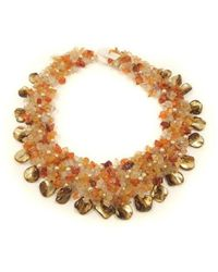 Aeravida | Orange Carnelian And Seashells Cluster Stone Toggle Necklace | Lyst