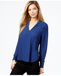 Guess | Blue Printed Pleated-detail Popover Blouse | Lyst