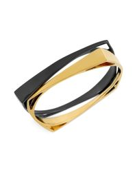 Robert Lee Morris | Black Gold-tone and Hematite-tone Square Bangle Bracelet Set | Lyst