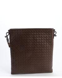 2167af37fc Bottega Veneta. Men s Brown Leather Intrecciato Leather Flap Messenger Bag