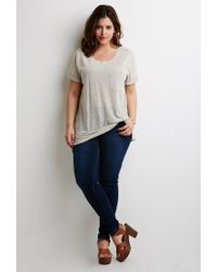 Forever 21 | Natural Plus Size Slub Knit Pocket Tee | Lyst