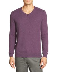 Vince Camuto - Purple Plaited V-neck Sweater for Men - Lyst