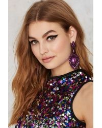 Nasty Gal - Purple Act The Jewel Earrings - Lyst