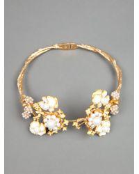 Alexander McQueen | Metallic Floral Torque Bracelet | Lyst