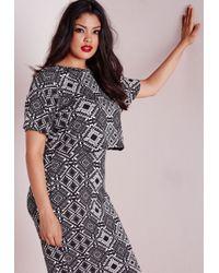 Missguided - Plus Size Aztec Print Crop Top Black - Lyst