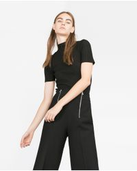 Zara | Black Short Sleeve Sweater | Lyst