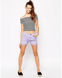 Daisy Street | Purple High Waist Denim Mom Short | Lyst