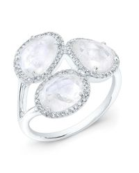 Anne Sisteron | Metallic 14kt White Gold Moonstone Diamond Trinity Ring | Lyst