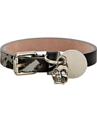 Alexander McQueen - Leather Bracelet With Skull Charm-black for Men - Lyst