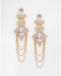 ASOS | Metallic Occasion Drape Chain Earrings | Lyst