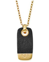 Emporio Armani | Men'S Gold-Tone Black Leather Dog Tag Pendant Necklace Egs1983 for Men | Lyst