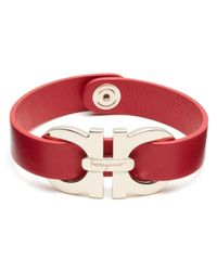 Ferragamo | Red Double Gancini Single Wrap Bracelet | Lyst