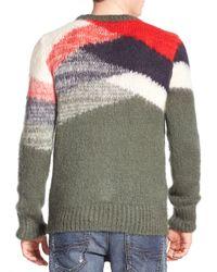 DIESEL Green Colour Block Sweater for men