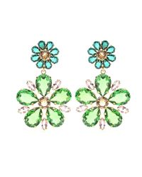 Dolce & Gabbana | Green Embellished Clip-on Earrings | Lyst
