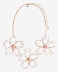 Addition Elle - Metallic Short Metal Flower Necklace - Lyst
