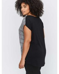 Addition Elle - Multicolor Premium Essential Printed Mixed Fabric V-neck Zipper Top - Michel Studio - Lyst