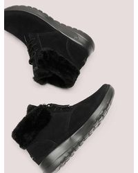 Addition Elle Black Wide Width Lace-up Bootie With Faux-fur - Skechers