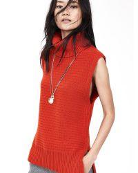 Banana Republic | Orange Textured Sleeveless Turtleneck | Lyst