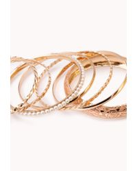 Forever 21 - Pink Painted Pearlescent Bangle Set - Lyst