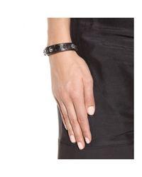 Miu Miu - Black Embellished Leather Bracelet - Lyst