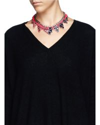 Joomi Lim | Red Cotton Braid Crystal Necklace | Lyst
