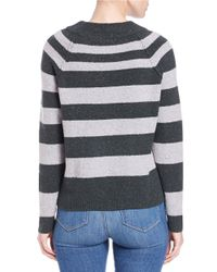 Free People | Gray Striped Knit Sweater | Lyst