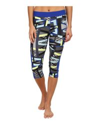 Adidas - Blue Techfit™ Capri Tights - Amazing Print - Lyst