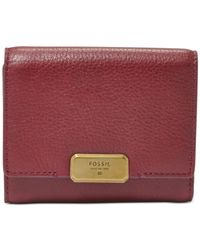Fossil | Red Emerson Leather Trifold Clutch Wallet | Lyst