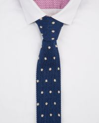 Ted Baker - Blue Knitted Spot Silk Tie for Men - Lyst