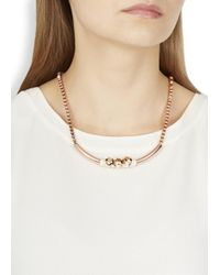 John & Pearl - Pink Rose Gold Plated Crystal Embellished Necklace - Lyst