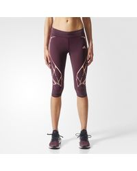 Adidas - Red Adizero Sprintweb Three-quarter Tights - Lyst