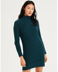 25580f3a51b Lyst - American Eagle Ae Waffle Mock Neck Sweater Dress in Blue