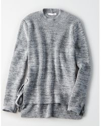 American Eagle - Gray Don't Ask Why W/x Mock Neck Side Lace Up Sweater - Lyst