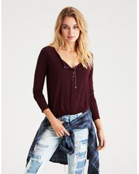 6bdbe60a8a8 American Eagle Ae Soft & Sexy Long-sleeve Henley T-shirt in Red - Lyst
