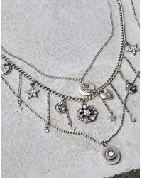American Eagle - Multicolor Silver Star & Moon Layering Necklaces - Lyst