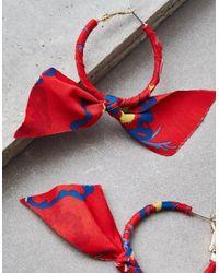 American Eagle - Metallic Red Bow Hoop Earring - Lyst
