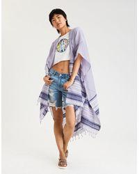 American Eagle - Purple Jacquard Midi Kimono - Lyst