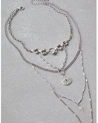 American Eagle - Metallic Silver Long Eye Layering Necklace - Lyst