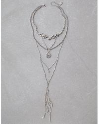 American Eagle - Metallic Silver Long Eye Layering Necklace - Lyst