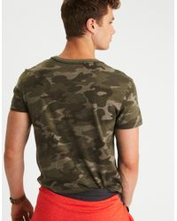 American Eagle Green Ae Camo T-shirt for men