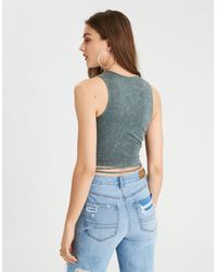 American Eagle - Blue Ae Lace-up Wrap Tank Top - Lyst