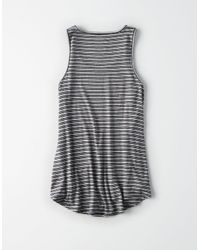 American Eagle - Black Ae Striped Favorite Scoop Neck Tank Top - Lyst