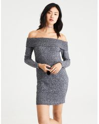 9f47cdf95ab American Eagle. Women s Gray Ae Ahh-mazingly Soft Off-the-shoulder Sweater  Dress