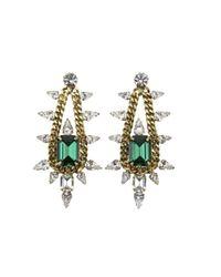 Elizabeth Cole | Green Emerald Chain Pear Earrings | Lyst