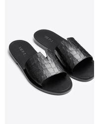 Vince - Black Turner Leather Slides - Lyst
