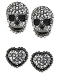 Betsey Johnson | Gray Hematite-tone Heart And Skull Duo Stud Earring Set | Lyst